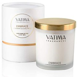 VATIMA Embrace Scented Candle – Strong Fragrance of Lavender and Eucalyptus, Gift Ready, H ...