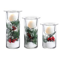 Whole Housewares Glass Hurricane Candle Holders with Decorative Christmas Ornaments – Set  ...