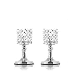 VINCIGANT Silver Crystal Tea Light Candlestick Holders for Mothers Day Coffee Table Decorative C ...