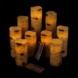 Vinkor Flameless Candles Battery Operated Candles Birch Effect 4″ 5″ 6″ 7̸ ...