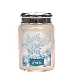 Village Candle Winter Sparkle 26 oz Glass Jar Scented Candle, Large