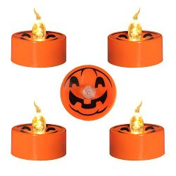 Youngerbaby 12 Pack Orange Halloween Tea Light Candles Battery Operated for Pumpkin Lantern, Fli ...