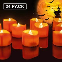 Homemory 24 Pack Battery Operated LED Tea Lights, Orange Flameless Votive Tealights with Warm Wh ...