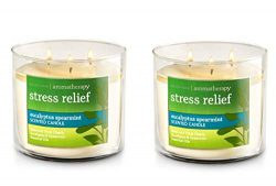 Bath & Body Works, Aromatherapy Stress Relief 3-Wick Candle, dfrDhp, 2 Pack (Eucalyptus Spea ...