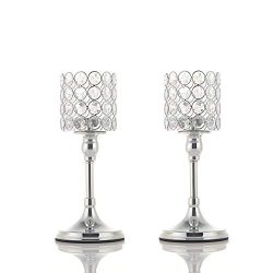 VINCIGANT Silver Long Stem Crystal Candlesticks Holder Set of 2 for Mother's Day Table Cen ...