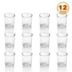 PMLAND Clear Glass Votive Candle Tealight Holders – 2.5 Inch, Pack of 12