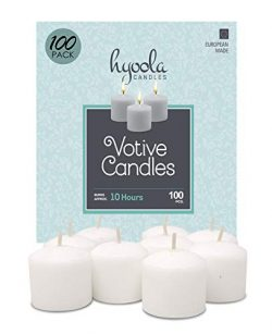 European Votive Candles Unscented – 10-Hour Burn Time – White – 100 Pack