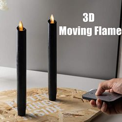 Set of 2 Halloween Black Moving Wick Flameless Taper Candles. with Remote an Timer. Wax.Hallowee ...