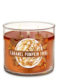 White Barn Bath & Body Works 3 Wick Candle Caramel Pumpkin Swirl