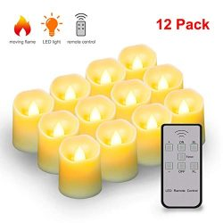 Flickering led Candle Tea Lights with Remote, Timer & Battery Operated,Flameless Votive Elec ...