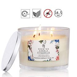 YUCH Citronella Candle Outdoor Indoor Aromatherapy Stress Relief Pure Soy Wax 3-Wick Scented Can ...