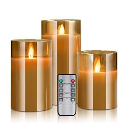 YMing LED Flameless Candles Battery Operated, Real Wax Moving Effect Flickering Glass Candle Set ...