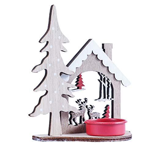Armfer-household supply Christmas Candle Holder Decoration 3D Wood House Tree Elk Bell Pattern T ...