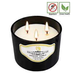 Howemon Citronella Candle Outdoor Indoor Aromatherapy Stress Relief Pure Soy Wax 3-Wick Scented  ...