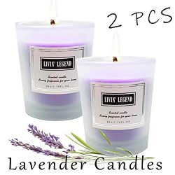Lavender Scented Candle-Natural Wax and Fresh Lavender Essential Candles,Long Lasting and Highly ...