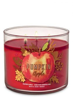 White Barn Bath & Body Works 3 Wick Candle Pumpkin Apple