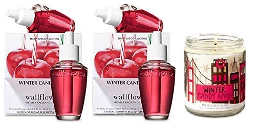 Bath and Body Works Winter Candy Apple Candle and WallFlower Refill ulb Set
