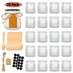 Folinstall 20 Pcs 7 oz Strip Glass Jars with Lids – Yogurt jars – Mason jars for Jam ...