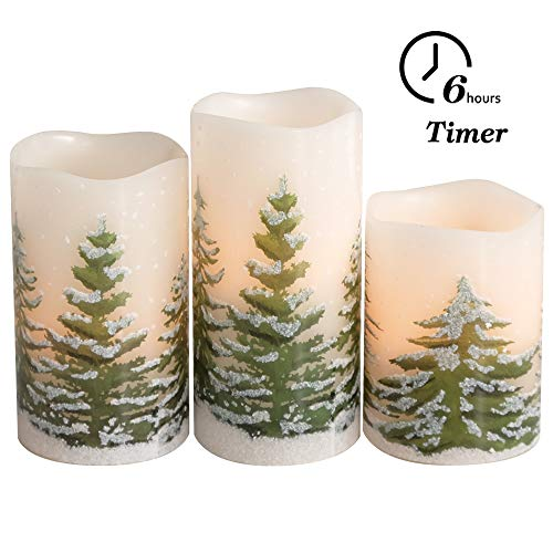 Eldnacele Green Tree Christmas Deco Flameless Flickering Candles with Automatical Daily Timers,  ...