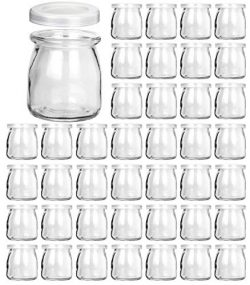 Glass Jars, KAMOTA 40 PACK 6oz Clear Yogurt Jars With PE Lids, Glass Pudding Jars Yogurt Jars Id ...