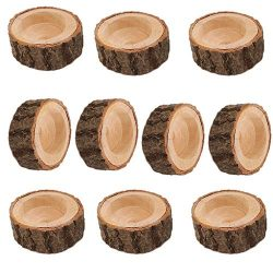 Flameer 10PCS Wooden Branch Stake Candle Holder Votive Tealight Holder for Home Wedding Christma ...