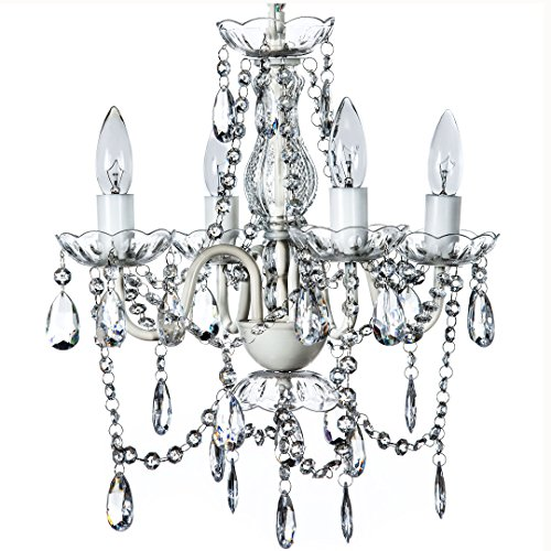 The Original Gypsy Color 4 Light Small Crystal Chandelier for H 17.5″ x W 15″, White ...