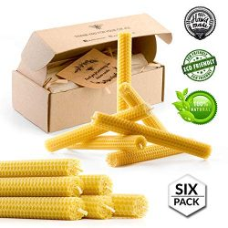 Beeswax Taper Candles 8 inch Tall Handmade Pure Bees Wax Tapers – Lead Free Cotton Wick &# ...