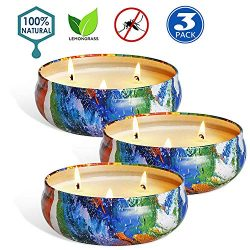 XYUT Citronella Candles Outdoor Indoor Large Pure Soy Wax 3-Wick Scent Candle 80 Hour Burn 16 Ou ...