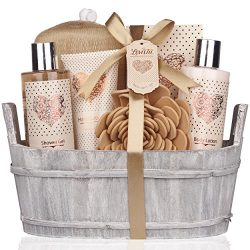 Spa Gift Basket – Bath and Body Set with Vanilla Fragrance by Lovestee – Bath Gift B ...