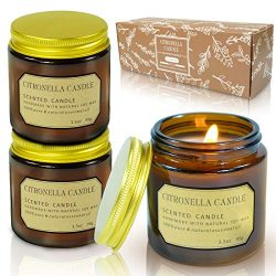 LA BELLEFÉE Citronella Candle Aromatherapy Stress Relief 3.5oz Pure Soy Wax Scented Candles 25 H ...