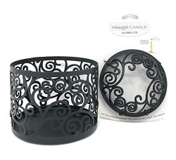 Yankee Candle Black Scroll Jar Holder & Illuma-lid Jar Candle Topper Set Gift Set