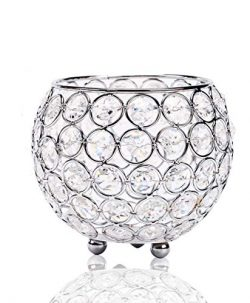 Manvi Crystal Silver Votive Candle Holders, Round Candlestick Holders/Candle Sleeve for Weddings ...