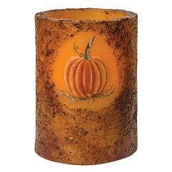 CWI Gifts Burnt Mustard Battery Operated Pumpkin Timer Pillar, Multi