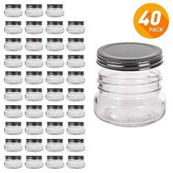 QAPPDA Mini Mason Jars Glass Canning Jars,5 OZ Jelly Jars With Regular Lids(Black) Small Jars fo ...