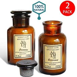 YIH Apothecary Collection Soy Wax Blend Candle in Glass Jar, 5.5 Ounce, Amber & Smoke ,Jasm ...