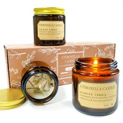 Scentorini Citronella Candle, Aromatherapy Soy Wax Candles Gift Set, for Outdoor/Indoor Use, 3 Pack