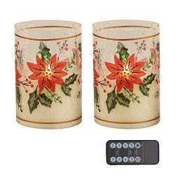 Red Crackle Glass Led Candles Set of 2 (D4″x H6″) Real Wax Pillar Flameless Candles  ...