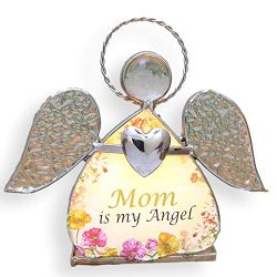 BANBERRY DESIGNS Mother Candle Holder – Stained Glass Angel with Mom is My Angel Saying &# ...