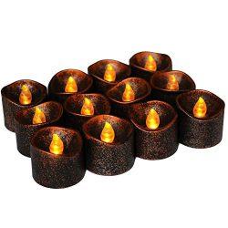 Flameless LED Tea Lights 12 PCS, Emopeak Festival Decoration Tea Light Brown LED Candles for Hal ...