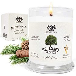 Wildwoods (Cedarwood & Vanilla) Aromatherapy Deodorizing Soy Candle for Pets, Candles Scente ...