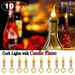 SUPERNIGHT Wine Bottle Lights with Cork – 10 Packs Warm White Battery Operated 6.6ft 20 LE ...