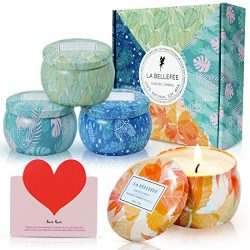 LA BELLEFÉE Seasons Scented Candles 4 x 4.4oz Natural Soy Wax Travel Tin Aromatherapy Candle Set ...