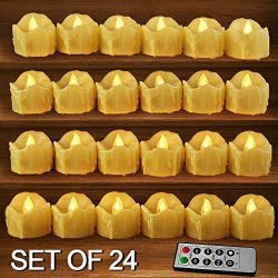 HOME MOST Set of 24 LED Votive Candles with Remote and Timer (CREAM) – LED Flameless Votiv ...