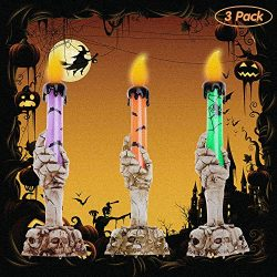YBB 3 Pack Halloween Skull Candle Holder Light, Skeleton Ghost Hand Flameless Candle Lamp Party  ...