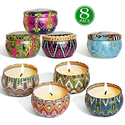 YIHANG Scented Candles Gift Sets, Natural Soy Wax 2.5 Oz Unit Portable Travel Tin Perfect for Wo ...