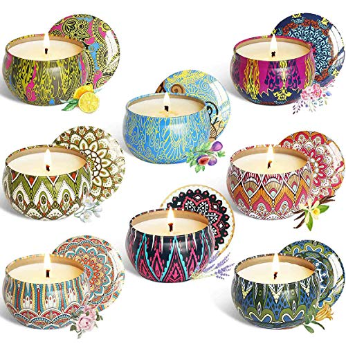 WAEKIYTL Scented Candles Gift Set of 8 100% Soy Candles – Natural Organic Soy Wax Candles  ...