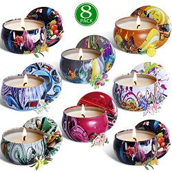 YIHAN Scented Candle Soy Wax Travel Tin Aromatherapy Candles Gift Set for Wedding, Festival R ...