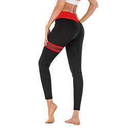 KINGOLDON Women's Yoga Pants mesh Stitching Tight Fitting Fitness Running Comfortable Tigh ...