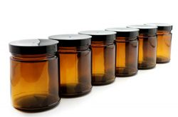 8oz / 9oz Amber Glass Jars (6-Pack); Straight Sided Cosmetic Jars, Great for Body Butter, Creams ...