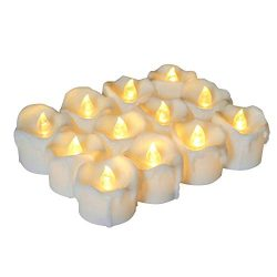 Homemory Timer Tea Light Candles Bulk, Set of 12 Warm White Electric Tealight, Battery Operated  ...